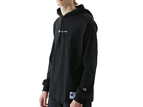 [チャンピオン] パーカー ロングTシャツ 長袖 フーデッドTシャツ バイカラージョックタグ スクリプトロゴ刺繍 C3-M414 メンズ ブラック XL