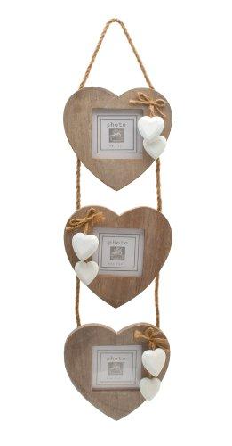 Ensemble de 3 cadres en bois en forme de cœur