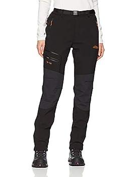 BenBoy Women s Outdoor Waterproof Windproof Fleece Slim Cargo Snow Ski Hiking Pants,AN-SF1602W-Black-L