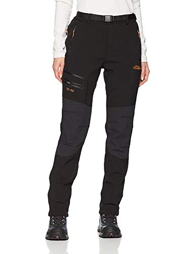 BenBoy Women's Outdoor Waterproof Windproof Fleece Slim Cargo Snow Ski Hiking Pants,AN-SF1602W-Black-M
