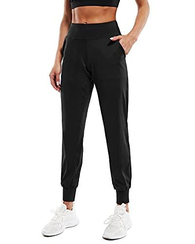Promover Pantaloni da Yoga da Donna Tapered Lounge Pants con Tasche Allenamento Esecuzione Jogging Pantaloni Felpa Yoga Attivi Comodo S-XXL