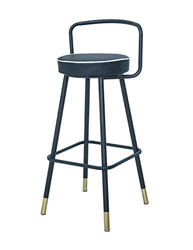 MYAOU Taburetes de Bar de Metal, Taburete Alto con cojín de Piel sintética Vintage con reposapiés y Base, sillas de mostrador Informales para Pub, cocinas, jardín