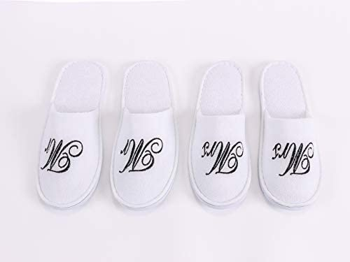 Romance Helpers Mr and Mrs Couple Slipper Gift Set Set of 2 Matching Spa Hotel Bath Slippers product image