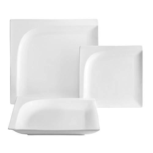 Ambition 94625 Monaco - Vajilla (18 piezas), color blanco Juego de vajilla de porcelana blanca platos llanos platos hondos platos de postre aptos para lavavajillas microondas moderno