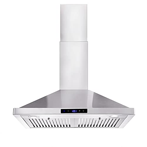 Wall Mount Range Hood 30 inch Kitchen Hood 700 CFM with Ducted/Ductless Convertible Duct, Touch Control, Permanent Filters, Stainless Steel, 3 Speed Exhaust Fan, LED Light, Tieasy