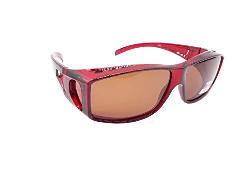 Matecs polarisierte Sonnen-Überziehbrille Rot für Brillenträger UV 400 CAT3 für SIE & IHN