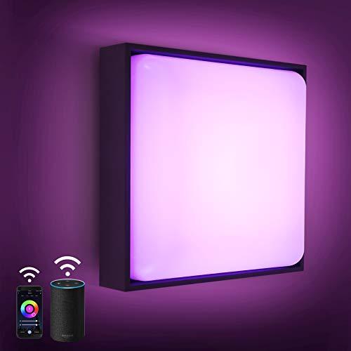 Wifi LED Wandleuchte Dimmbar, 8W 650lm RGB Deckenlampe Dimmbar, Alexa 2700-6500K, IP54 RGB LED Wandlampe Steuerbar via App, kompatibel mit Amazon Alexa (Echo, Echo Dot) Für Innenleuchte Außenleuchte