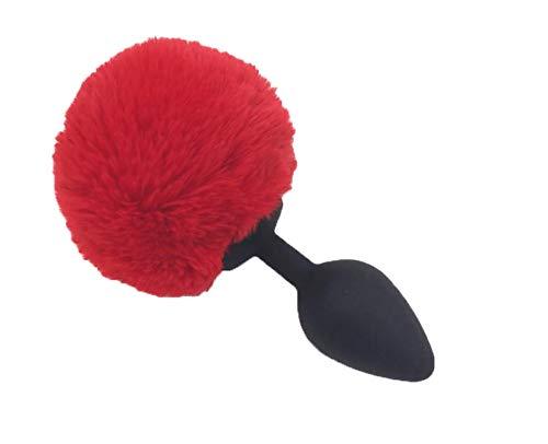 BONDAGERIE® Pompon Rosso con plùg in silicone Nero, varie misure