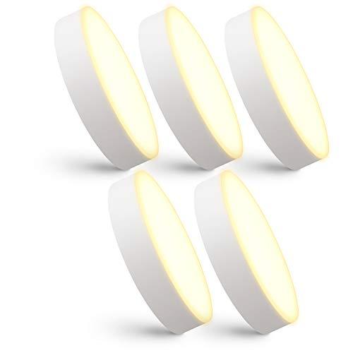 linovum 5er Set paniled Mini LED Aufbau Deckenleuchten flach warmweißes & randloses Licht - 6 Watt 230 Volt - Spot Ø 90x26 mm