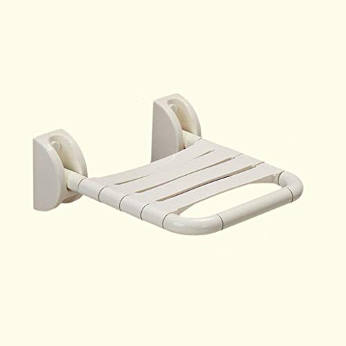 MissZZ Baño Taburete de Ducha Asiento Plegable de Pared Pasillo de Acero Inoxidable Banco de Zapatos Silla de Pared (Color: Blanco)