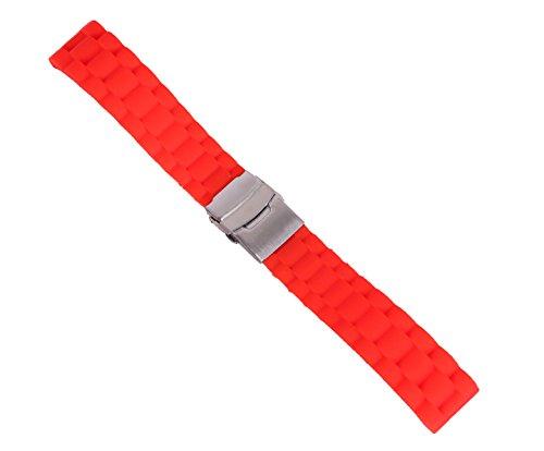 20mm correa de reloj de buceo de reemplazo de la correa del reloj deportivo antideslizante de goma de color rojo con el corchete de seguridad plegable