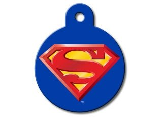 Quick-Tag Large Circle Brass Dog I.D. Tag - Superman
