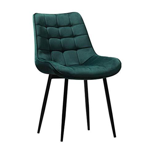 Silla de comedor cocina mostrador sillones salón ocio sala de estar sillas de esquina con respaldo y acolchado suave terciopelo asiento robusto de acero negro recepción de acero verde oscuro