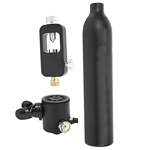 Bnineteenteam Cilindro de Buceo, Tanque de Aire de Buceo de 500 ml, Tanque de Buceo Submarino con válvula de Alivio de presión Superior, Cilindro de Buceo subacuático(Negro Mate)