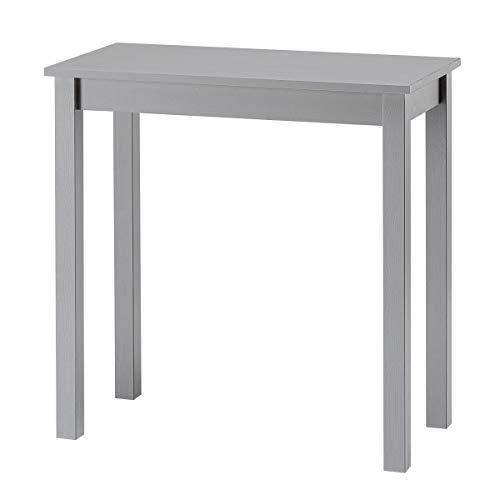 hagge home Escritorio Consola para ordenador, mesa pequeña de madera maciza de pino nórdico, ahorra espacio, diseño moderno, 75 x 38 cm, altura 75 cm, color gris