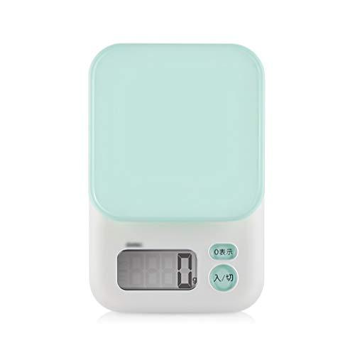 Balanza de cocina/Hogar Escala electrónica de alta precisión for hornear/Pantalla digital de alta definición/Esquina redonda anticolisión (Color : Green)