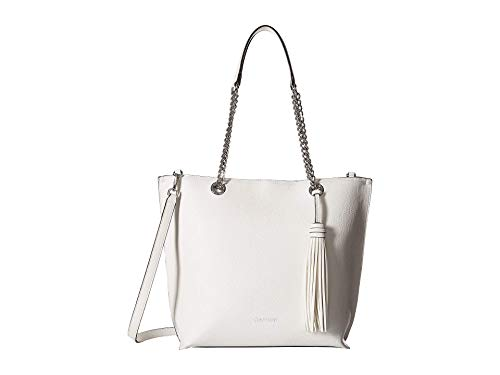 A clean and fierce bag, take the Unlined Novelty Top Zip Tote from the office to happy hour. Made of man-made material. Zipper closure. Dual carrying handles with chain detail and detachable, adjustable crossbody strap. Signature logo detail in front...