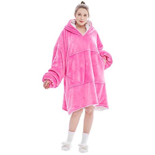 Übergroße Hoodie Sweatshirt, Original Decke Sweatshirt, super weiche gemütliche warme komfortable Riesen-Hoodie, 1 Größe passt alle, Männer, Frauen, Jugendliche (Rosa)