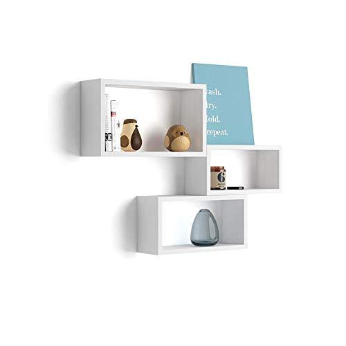 Mobili Fiver, Cubi da Parete Rettangolari, Set da 3, Giuditta, Bianco Frassino, Nobilitato, Made in Italy, Disponibile in Vari Colori