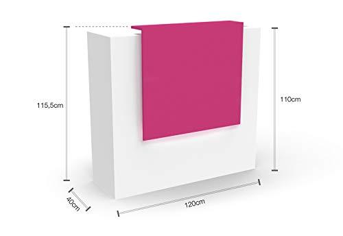 Ontvangstbar met LED-verlichting, B-artikel, wit-roze, L: 120 cm, D: 40 cm, H: 110 cm, VERA ontvangststrepen, kantoorcheke informatieotheek, beursheke, artsheke, kapperstheke, verkoopstrepen, kappersmes.