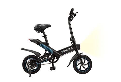 Voyager Compass Foldable Electric Bike for Adults, Folding Commuter Bike with 15 MPH Max Speed, EBike with Pedals, LED headlight and Display, Rechargeable Battery, 15 Miles Travel