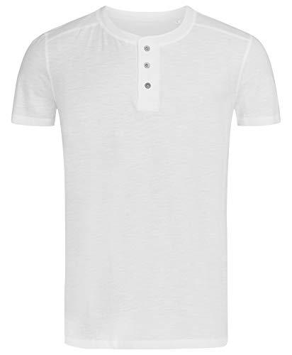 Stedman Original Premium Henley-T-Shirt mit Knöpfen für Herren; Aus Weichem Flamm-Garn (Slub-Garn), White, XXL