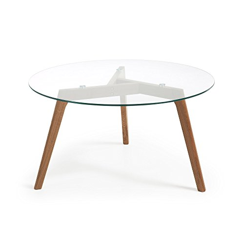 LF - Table basse Brick diamètre 90 cm verre/chêne
