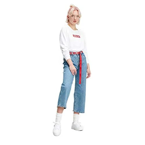 Levi's Relaxed Graphic Long Sleeve Felpa, White (Crew Box Tab White+ 0092), XS Donna