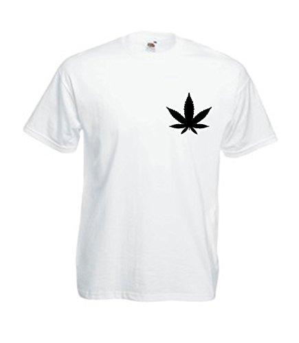MFAZ Morefaz Ltd Herren Und Damen T-Shirt Cannabis Leafes Ganja Weed THC Men/Ladies Rasta Kurzarm Shirt 420 (White T-Shirt Leaf Black, M)