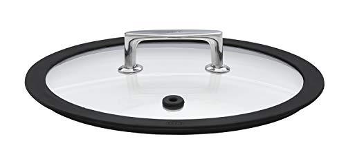 RÖSLE SILENCE Glasdeckel Ø 28 cm, Silikonrand, Edelstahl 18/10, silber/schwarz, Aussparung im Deckel für Thermometer, temperaturbeständig bis 180 °C, spülmaschinengeeignet