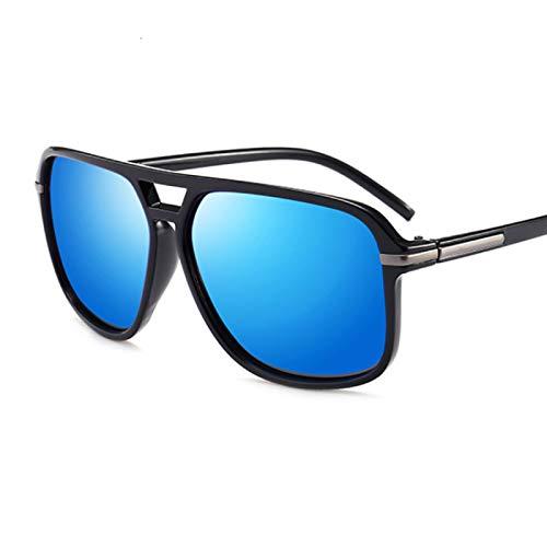 HAOMAO Gafas de Sol polarizadas cuadradas Retro para Hombres y Mujeres, diseñador de Marca, conducción de Negocios, Gafas Vintage para Hombre y Mujer, Negro, Azul