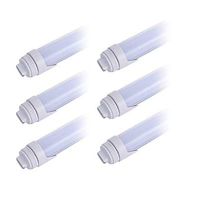 6 Pack T8 4FT 24W LED Tube Light Bulb,360 Degree Rotatable R17D/HO Cap,Double Row Indoor Bulb Light,Daylight White 6500k,4 Foot Shop Light to Replace 45W Fluorescent Lights,Milky Cover,ETL Listed