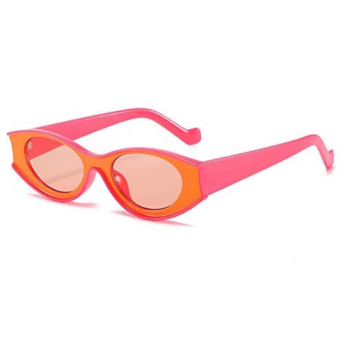 Gafas De Sol Gafas De Sol Vintage con Forma De Ojo De Gato para Mujer, Gafas De Sol Pequeñas Y Coloridas para Hombre, Gafas Steampunk Retro, Sombras Uv400 C5, Naranja, Rojo Y Rosa