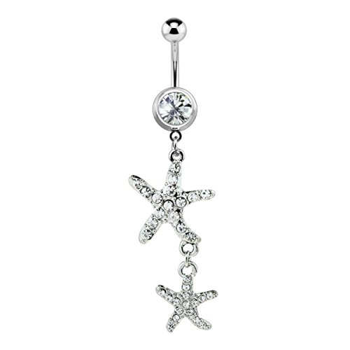 Dynamique 316L Surgical Steel Gem Paved Double Starfish Dangle Belly Button Ring