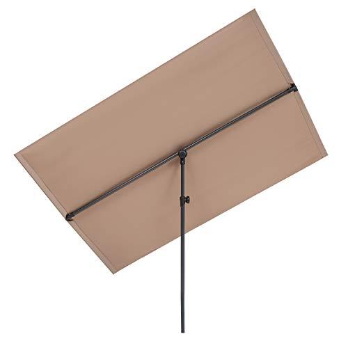 blumfeldt Flex-Shade XL Sombrilla - Protección Solar UV 50, Superficie 150 x 210 cm, Ajustable, Poliester hidrorrepelente, Revestimiento hidrófugo, Pie de Apoyo Aluminio, Compacto, Topo