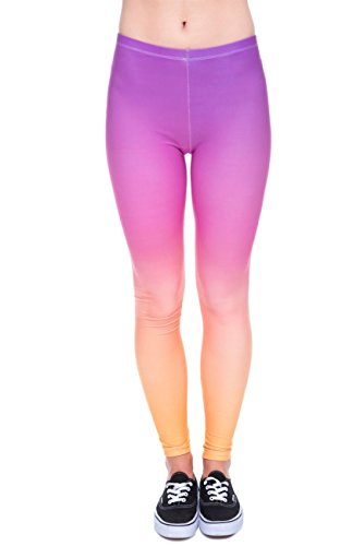 kukubird Printed Patterns Women's Yoga Leggings Gym Fitness Running Pilates Tights Skinny Pants Size 6-10 Stretchable-Rainbow Ombre