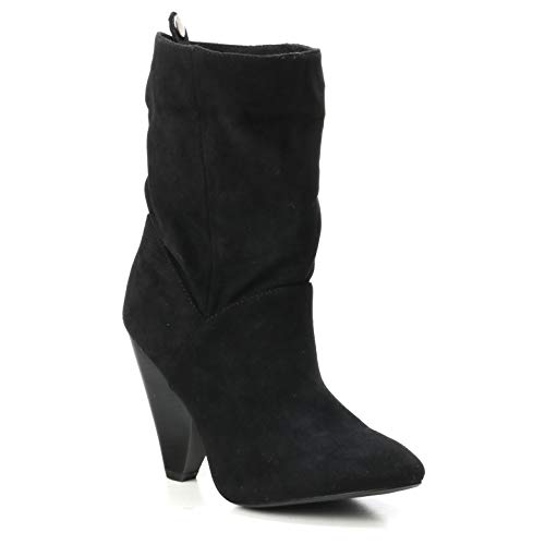 HERIXO Damen Schuhe Cowboystiefel Cowboystiefeletten Cowboy-Stiefel Stiefeletten spitz Western Kroko-Look Reptil Lack Boots Blockabsatz (36 EU, Black-A)