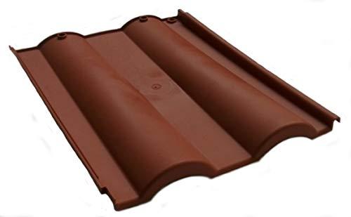Tegola Doppia Romana in plastica color cotto - tegole pvc tetto coppo terracotta (48 pezzi, Comprese viti fissaggio)