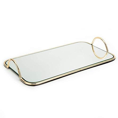 Bandeja decorativa rectangular de espejo con asas de metal, bandeja decorativa para mesa de café otomana, diseño único (color: dorado, tamaño: 45 x 30 x 5,5 cm) AA