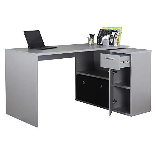 RICOO WM083-PL Escritorio esquinero Mesa Ordenador Esquina Organizador Oficina Muebles de hogar Buro rinconera PC Gaming Madera Gris Platino