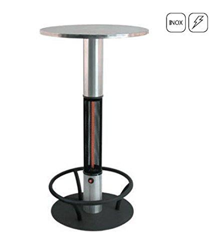 Edelstahl Stehtisch Heiztisch Bistro, 1.500 W, Wetterfester Heizstrahler IP44 mit Beinschutz ideal für Weihnachtsmärkte und Catering