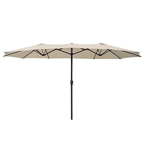 Yescom 14' Double-Sided Twin Patio Umbrella Sun Shade UV30+ Water Fade Resistant Crank Outdoor...