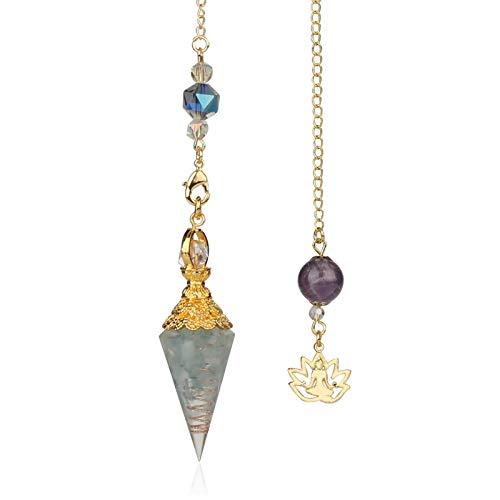 Qejuvt Sra. Natural Crystal Necklace Spirit Crystal Colgante de Yoga Golden Buddha Magnífico Collar, Regalo de cumpleaños Perfecto Regalo de San Valentín