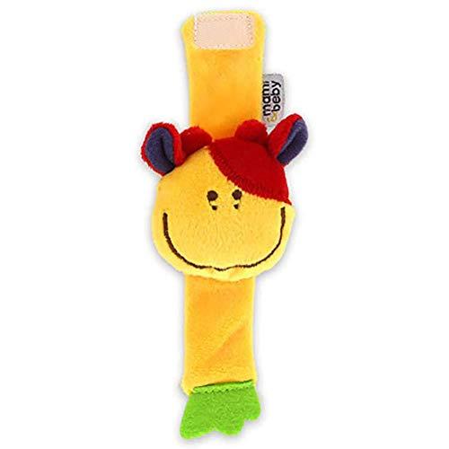 Da.Wa Infantil Piezas Animal del Bebé de la Muñeca de la Muñeca Traqueteos Correa de Muñeca Suave Juguete Educativo para Bebés (Amarillo Ternero)