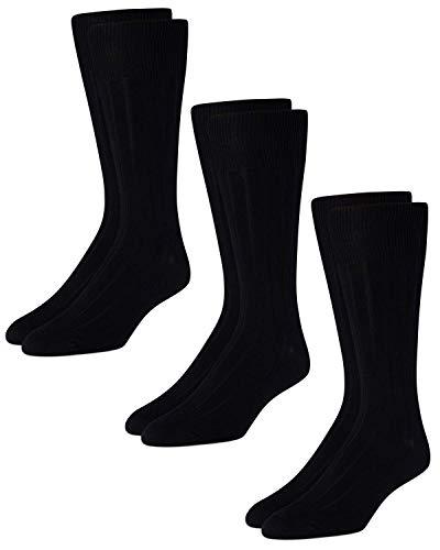 Calvin Klein Men's 3 Pack Cotton Rich Dress Rib Socks, Black, Shoe Size 7 - 12