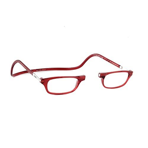 Lesebrille Damen und Herren Original CliC Classic | Magnetbrille mit ausziehbaren Stange | Lesehilfe reading glasses | Lesebrille Lesehilfe (Rot, 2.0)