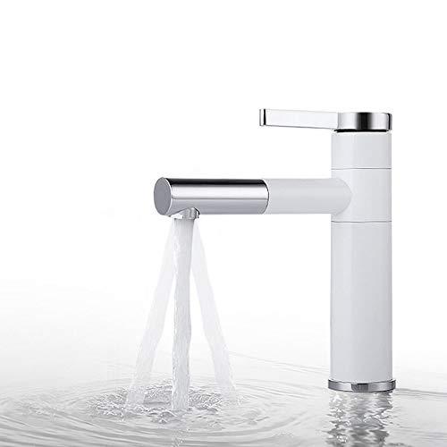 Aboyia - Grifo monomando para lavabo (latón), color blanco