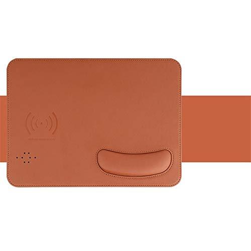 Qi Wireless Ladegerät Mauspad für iPhone 11 Samsung Xiaomi MI Ladekissen Gaming Mousepad mit Handgelenkreste Verwenden Sie zum PC-Laptop (Color : Brown, Size : 27x19 cm)