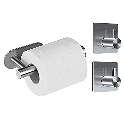 Juego de accesorios de baño de 3 piezas, 304 Acero Inoxidable Soporte para Papel de Baño y 2 piezas Ganchos de Baño Conjuntos, Ganchos Autoadhesivos Portarrollos para Papel...