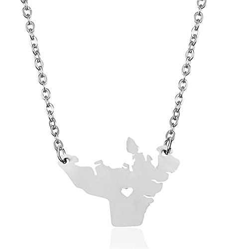 Kkoqmw Collar Mapa Plata Área de Acero Inoxidable Collar con Colgante de corazón Mapa